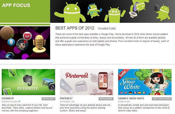 Google Play Store besten Apps 2012
