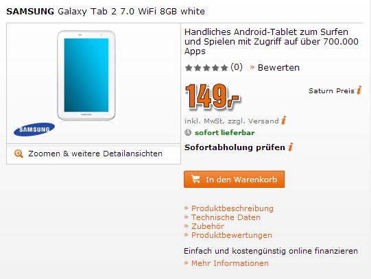 Samsung Galaxy Tab 2 7.0 saturn 149 euro