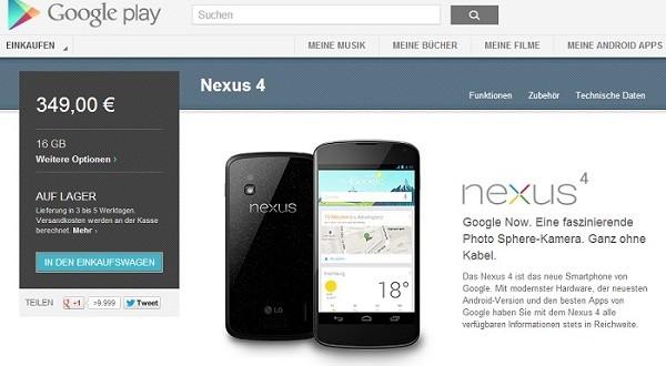Nexus 4 wieder ab Lager verfügbar im Google Play Store