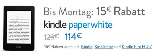 Kindle Fire Tablets und E-Book Reader bis Montag mit 15€ Rabatt