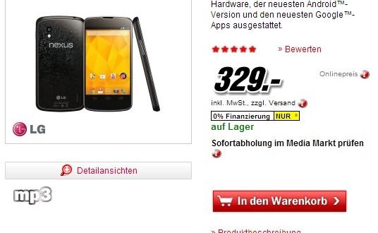 Deal: Nexus 4 mit 16 GB bei Media Markt für nur 329€